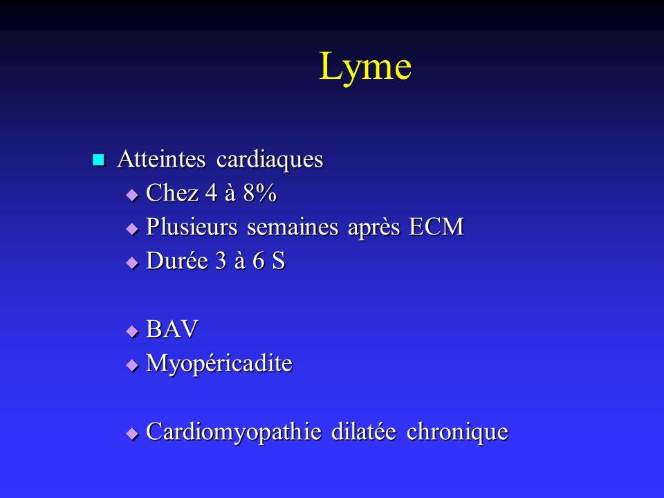 Lyme Atteintes cardiaques Chez 4 à 8% Plusieurs semaines après ECM