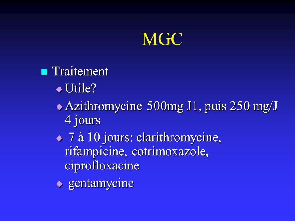MGC Traitement Utile Azithromycine 500mg J1, puis 250 mg/J 4 jours