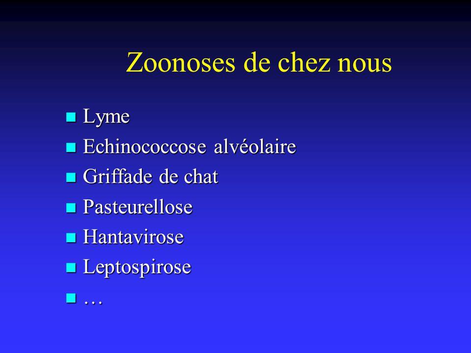 Zoonoses de chez nous Lyme Echinococcose alvéolaire Griffade de chat