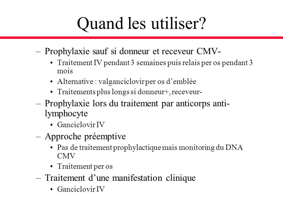 Quand les utiliser Prophylaxie sauf si donneur et receveur CMV-