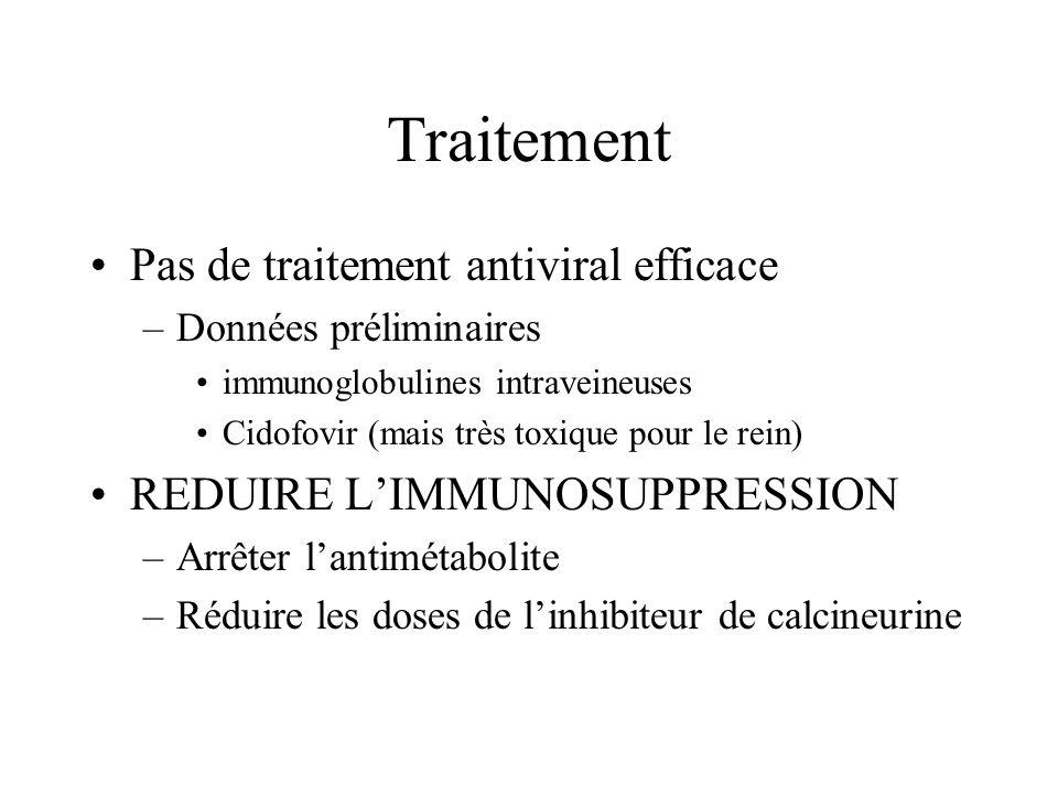 Traitement Pas de traitement antiviral efficace