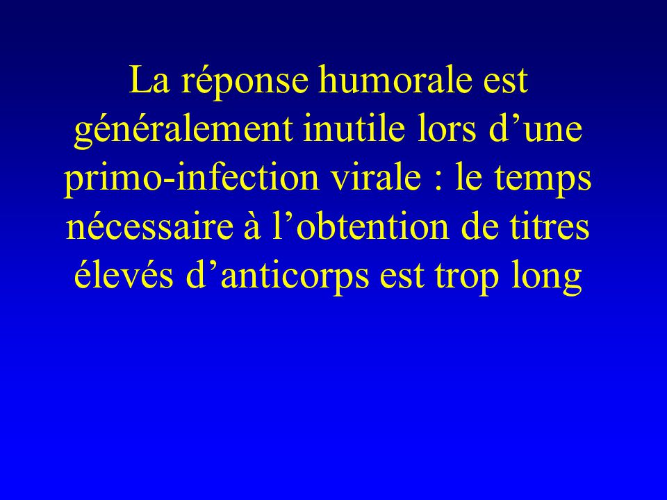 La réponse humorale est généralement inutile lors d'une primo-infection virale : le temps nécessaire à l'obtention de titres élevés d'anticorps est trop long