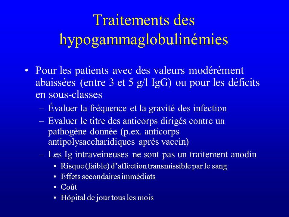 Traitements des hypogammaglobulinémies