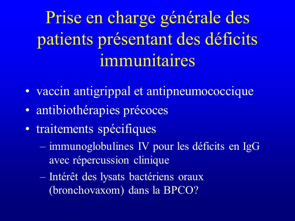 Prise en charge générale des patients présentant des déficits immunitaires