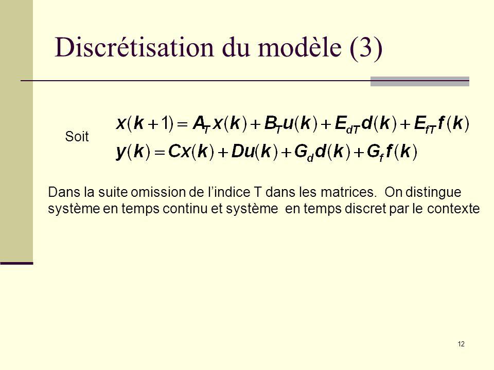 Discrétisation du modèle (3)