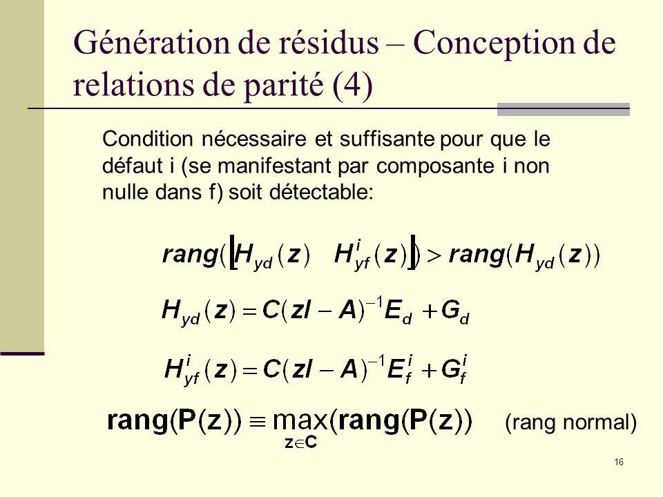 Génération de résidus – Conception de relations de parité (4)