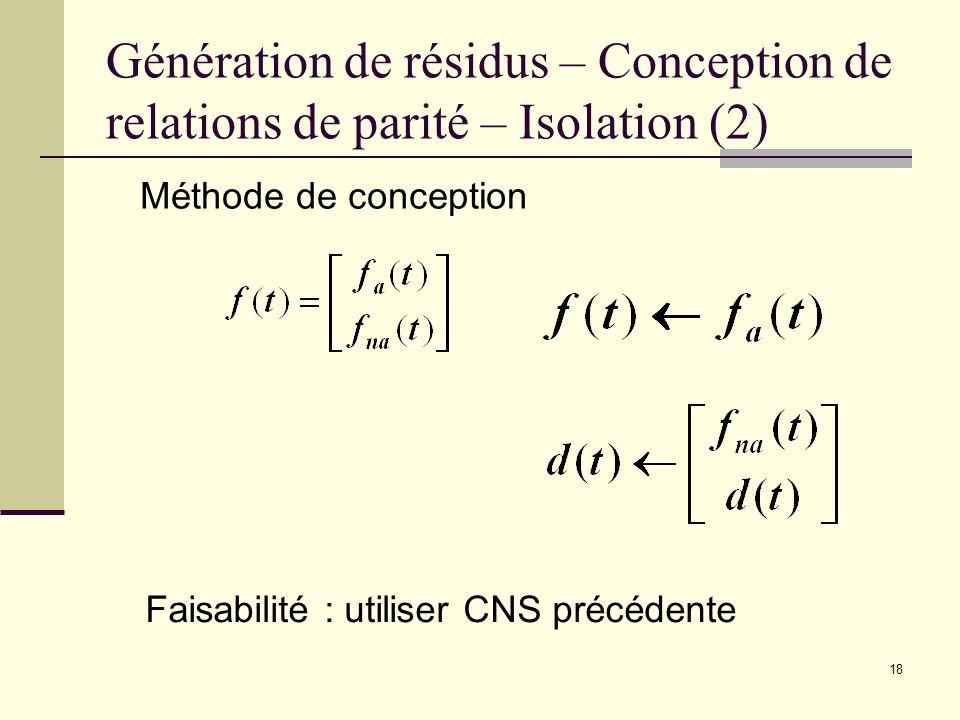 Génération de résidus – Conception de relations de parité – Isolation (2)