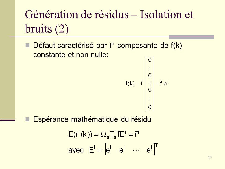 Génération de résidus – Isolation et bruits (2)