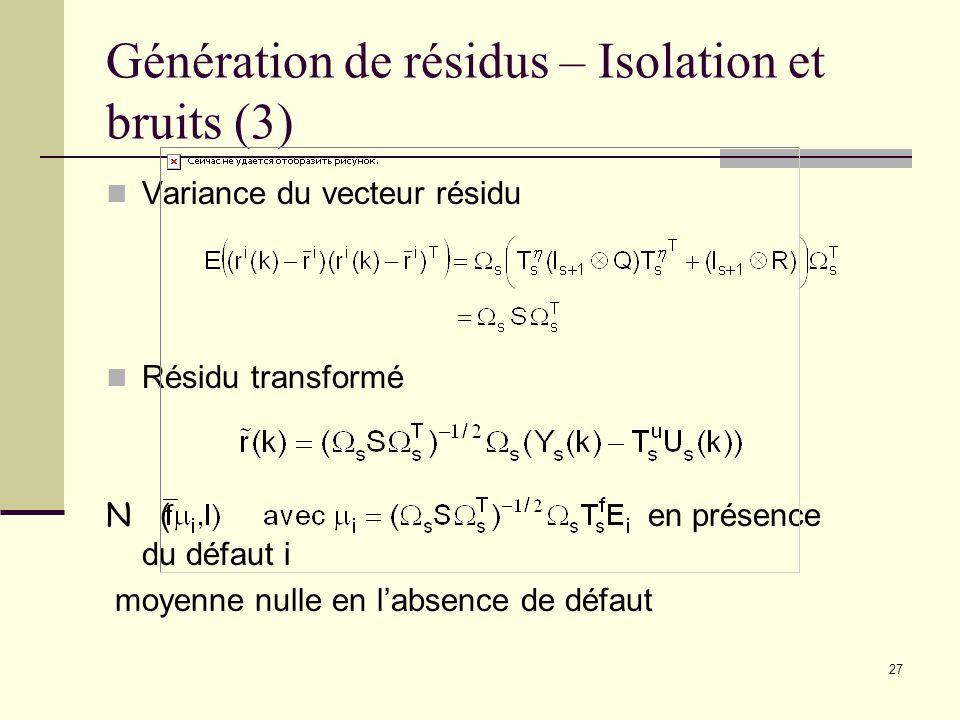 Génération de résidus – Isolation et bruits (3)