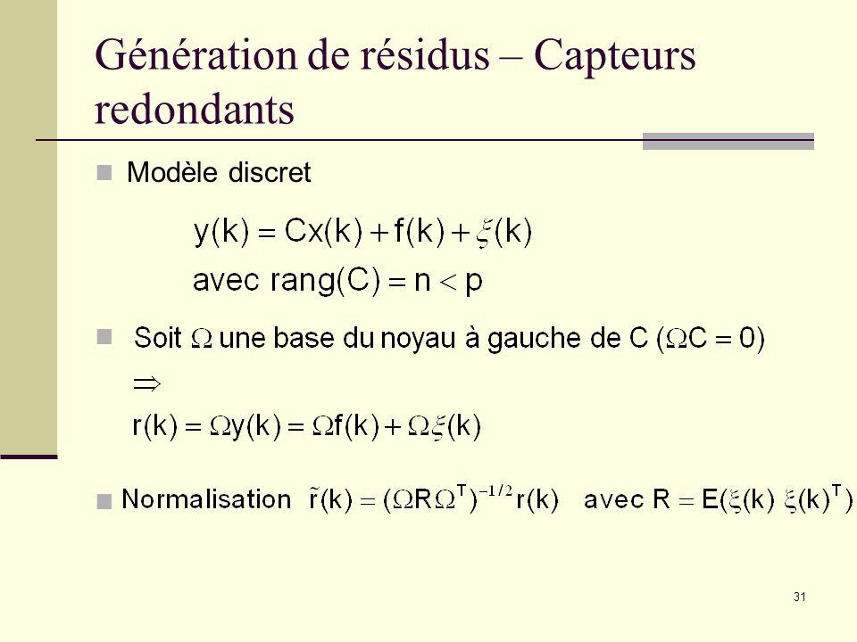 Génération de résidus – Capteurs redondants