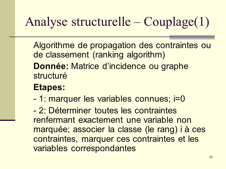 Analyse structurelle – Couplage(1)