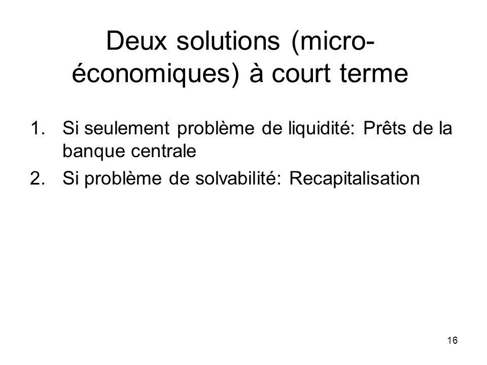 Deux solutions (micro-économiques) à court terme