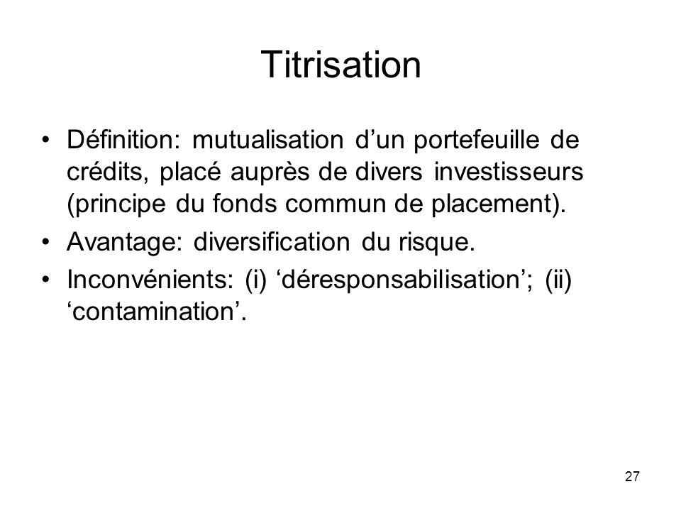 Titrisation Définition: mutualisation d'un portefeuille de crédits, placé auprès de divers investisseurs (principe du fonds commun de placement).
