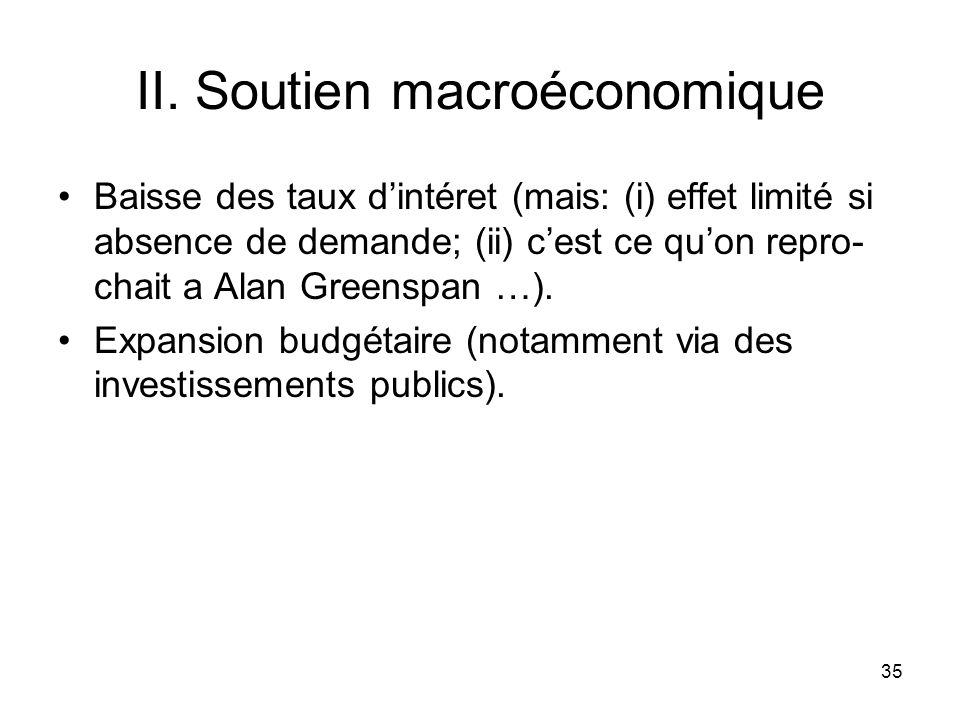 II. Soutien macroéconomique