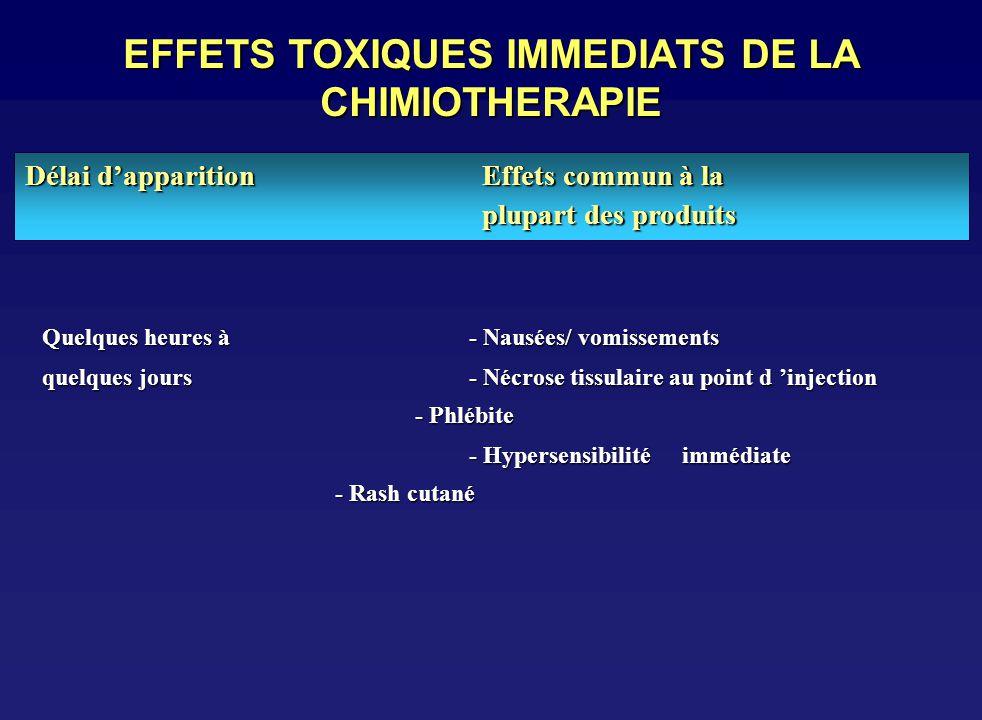 toxicit u00e9 commune des agents de chimioth u00e9rapie