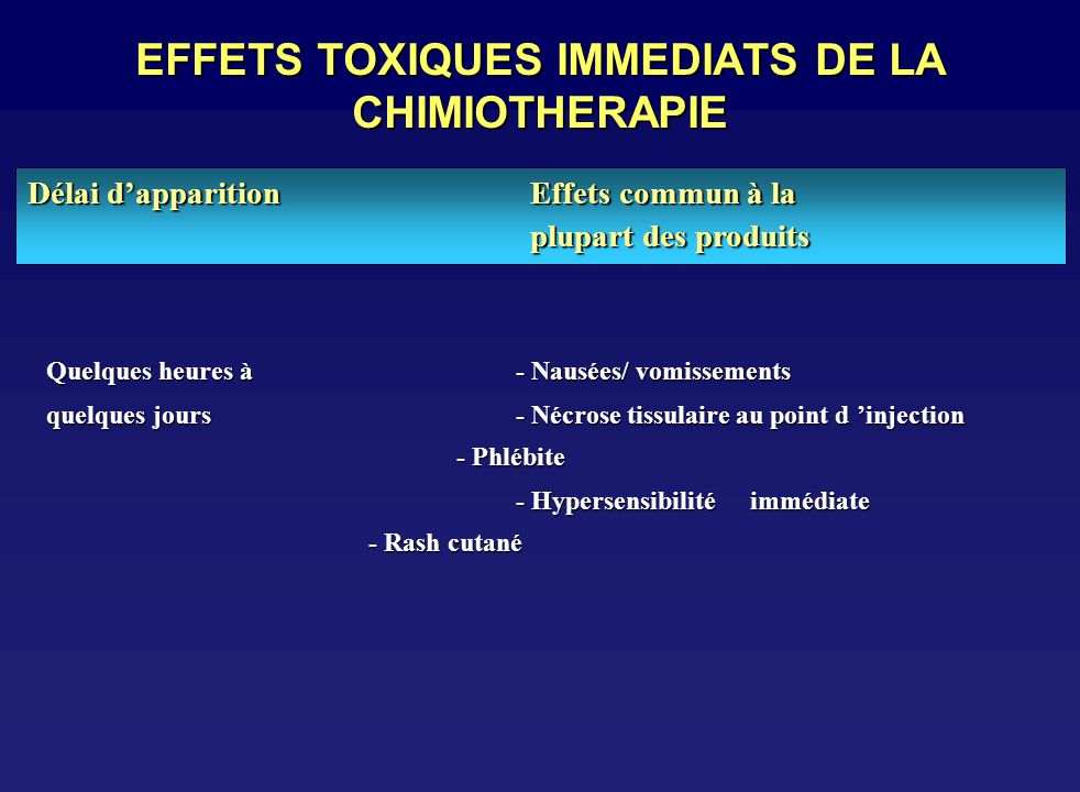 EFFETS TOXIQUES IMMEDIATS DE LA CHIMIOTHERAPIE