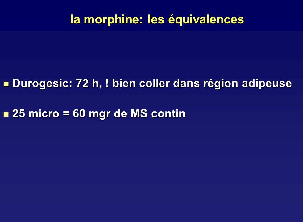 la morphine: les équivalences