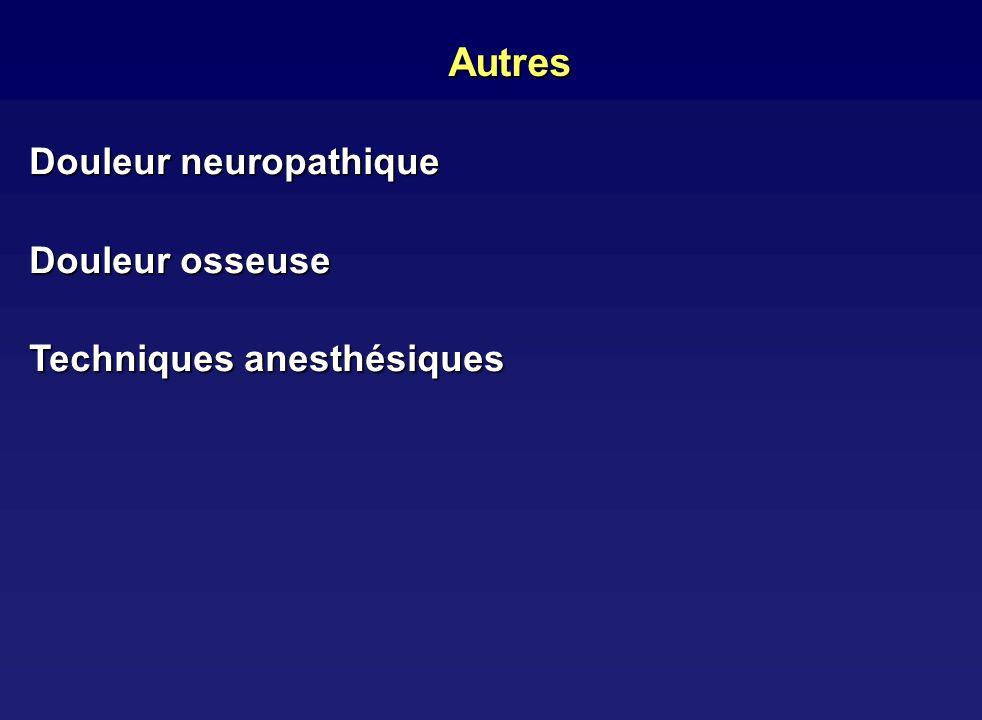 Autres Douleur neuropathique Douleur osseuse Techniques anesthésiques