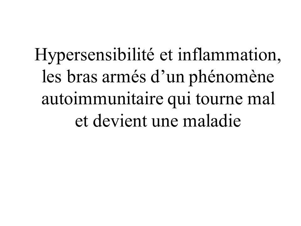 Hypersensibilité et inflammation, les bras armés d'un phénomène autoimmunitaire qui tourne mal et devient une maladie