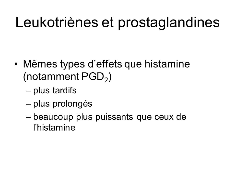 Leukotriènes et prostaglandines