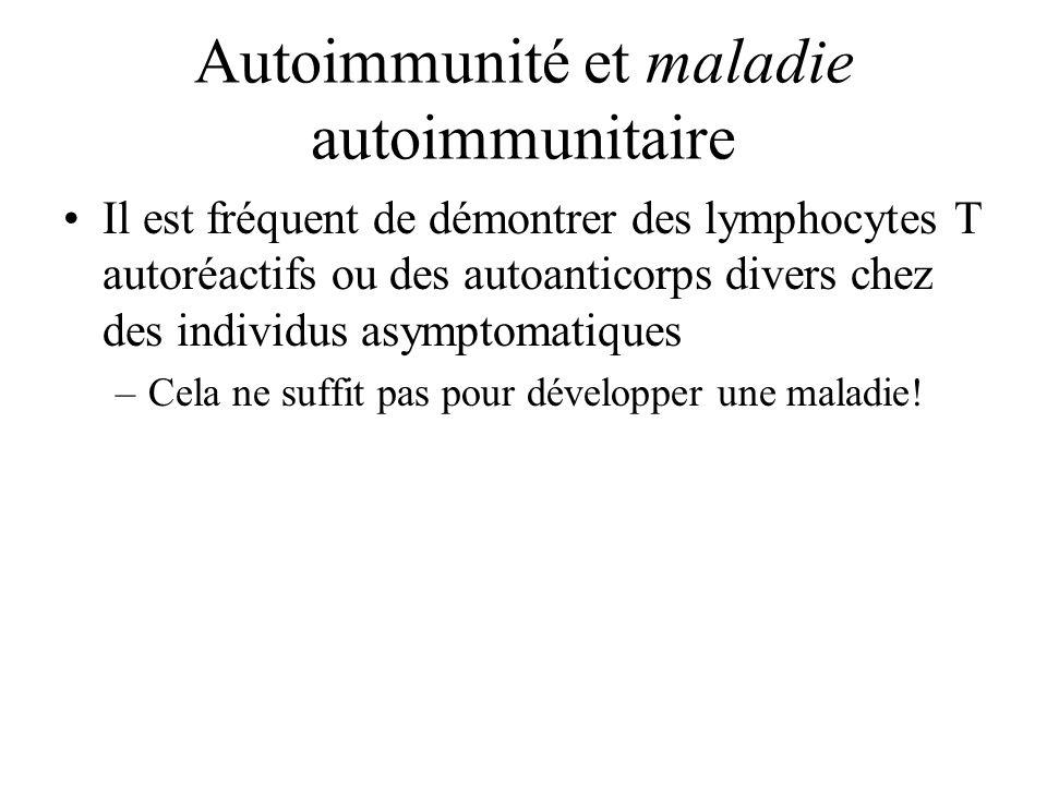 Autoimmunité et maladie autoimmunitaire