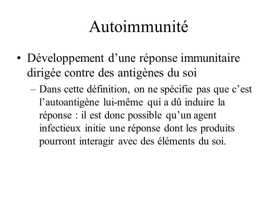 Autoimmunité Développement d'une réponse immunitaire dirigée contre des antigènes du soi.
