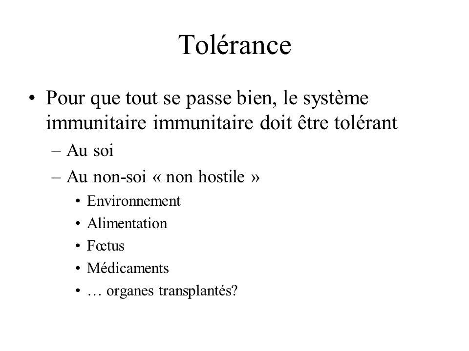 Tolérance Pour que tout se passe bien, le système immunitaire immunitaire doit être tolérant. Au soi.
