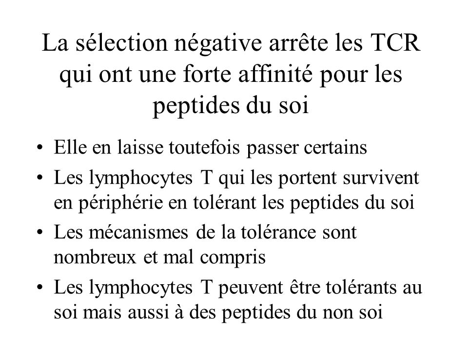 La sélection négative arrête les TCR qui ont une forte affinité pour les peptides du soi