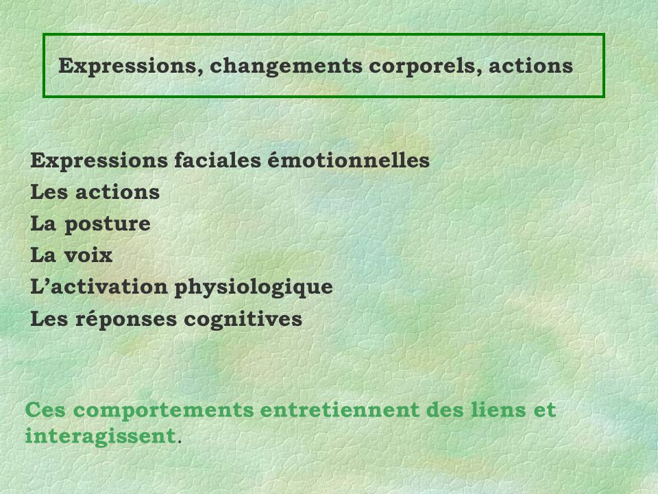 Expressions, changements corporels, actions