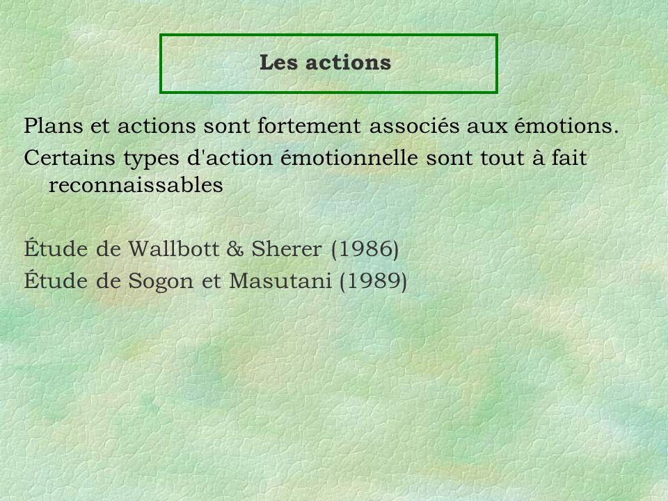 Les actions Plans et actions sont fortement associés aux émotions. Certains types d action émotionnelle sont tout à fait reconnaissables.