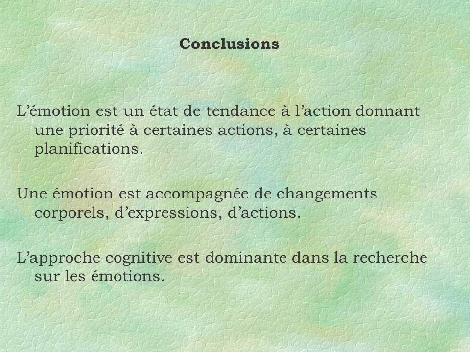 Conclusions L'émotion est un état de tendance à l'action donnant une priorité à certaines actions, à certaines planifications.