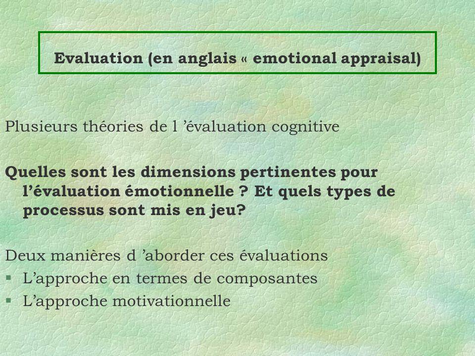Evaluation (en anglais « emotional appraisal)