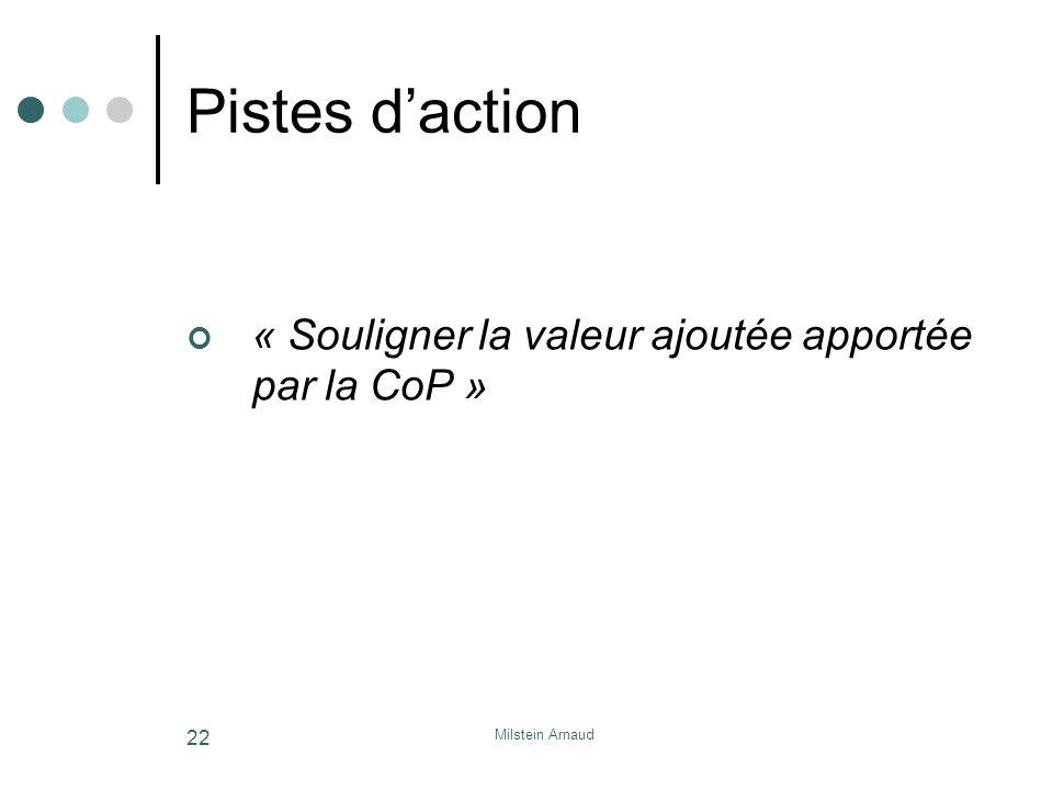 Pistes d'action « Souligner la valeur ajoutée apportée par la CoP »