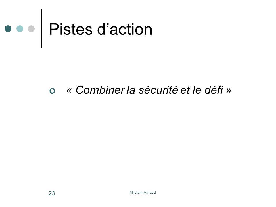 Pistes d'action « Combiner la sécurité et le défi » Milstein Arnaud