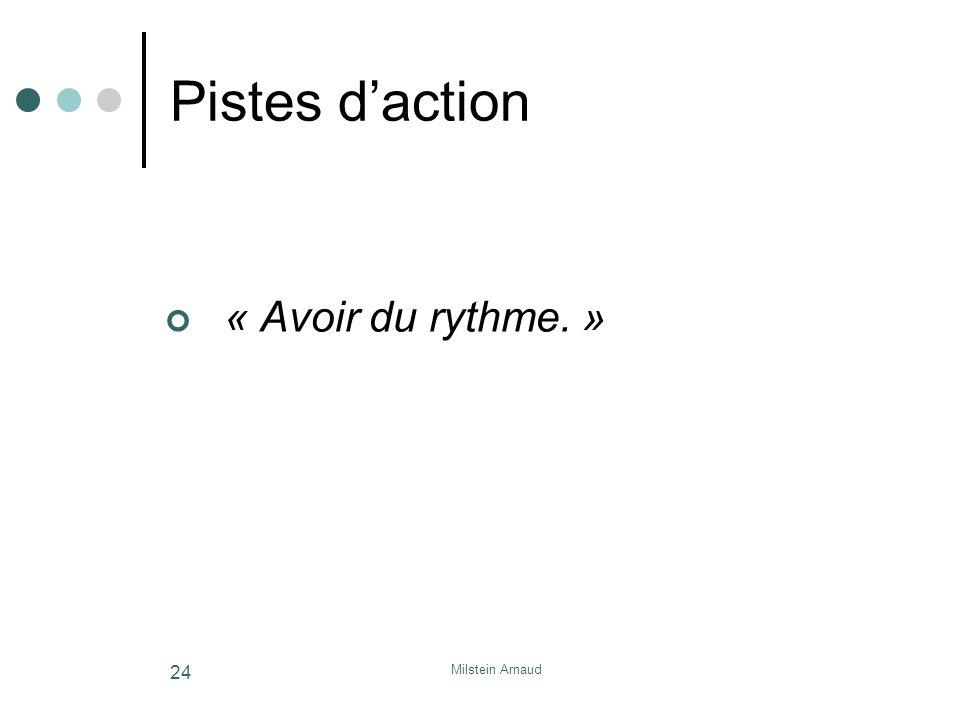 Pistes d'action « Avoir du rythme. » Milstein Arnaud