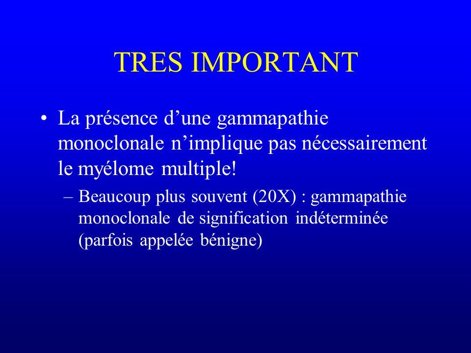 TRES IMPORTANT La présence d'une gammapathie monoclonale n'implique pas nécessairement le myélome multiple!