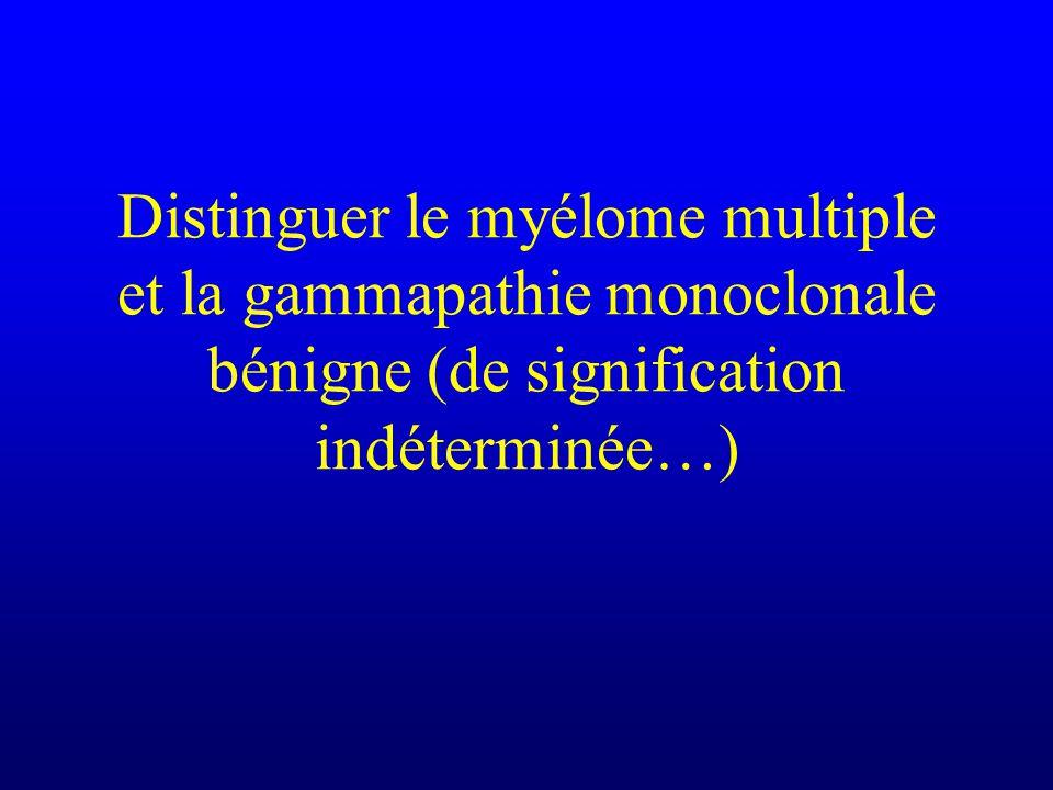 Distinguer le myélome multiple et la gammapathie monoclonale bénigne (de signification indéterminée…)