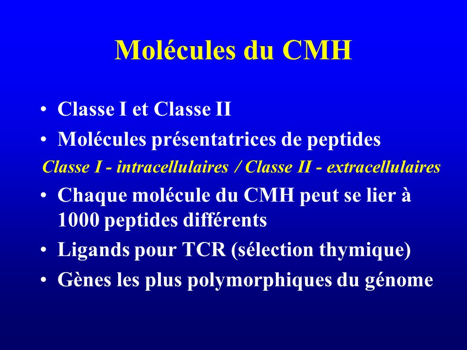 Classe I - intracellulaires / Classe II - extracellulaires