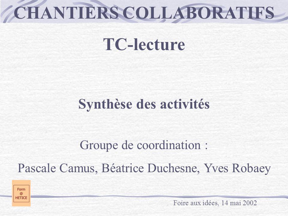 CHANTIERS COLLABORATIFS Synthèse des activités