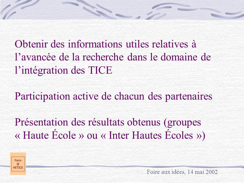 Obtenir des informations utiles relatives à l'avancée de la recherche dans le domaine de l'intégration des TICE Participation active de chacun des partenaires Présentation des résultats obtenus (groupes « Haute École » ou « Inter Hautes Écoles »)