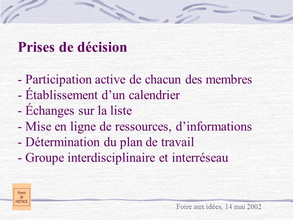 Prises de décision - Participation active de chacun des membres - Établissement d'un calendrier - Échanges sur la liste - Mise en ligne de ressources, d'informations - Détermination du plan de travail - Groupe interdisciplinaire et interréseau