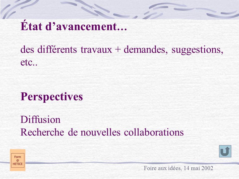 État d'avancement… des différents travaux + demandes, suggestions, etc