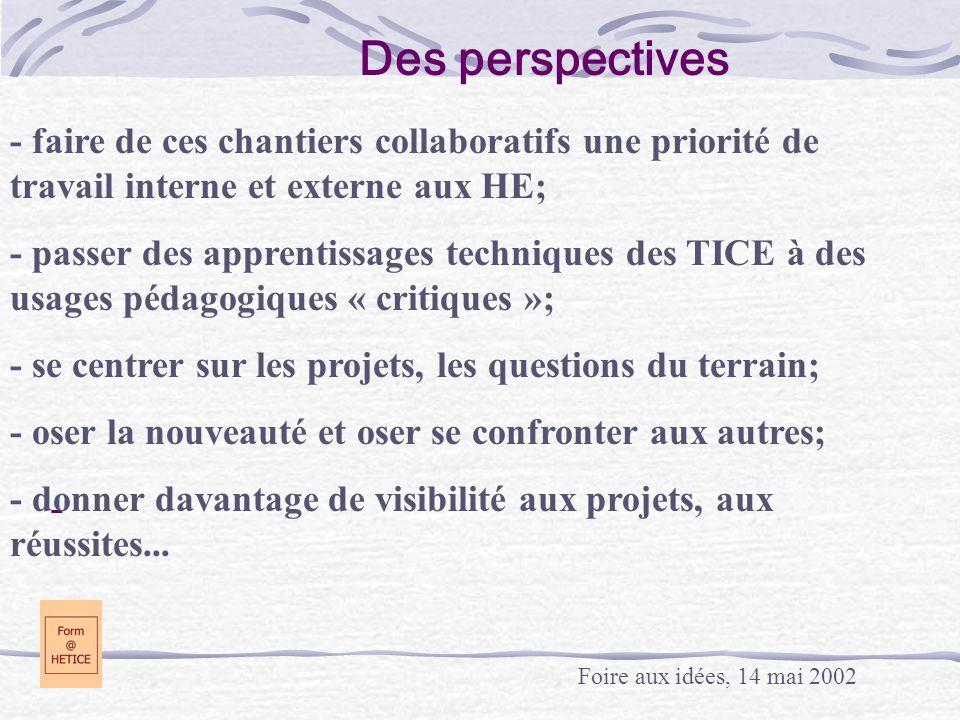 Des perspectives - faire de ces chantiers collaboratifs une priorité de travail interne et externe aux HE;