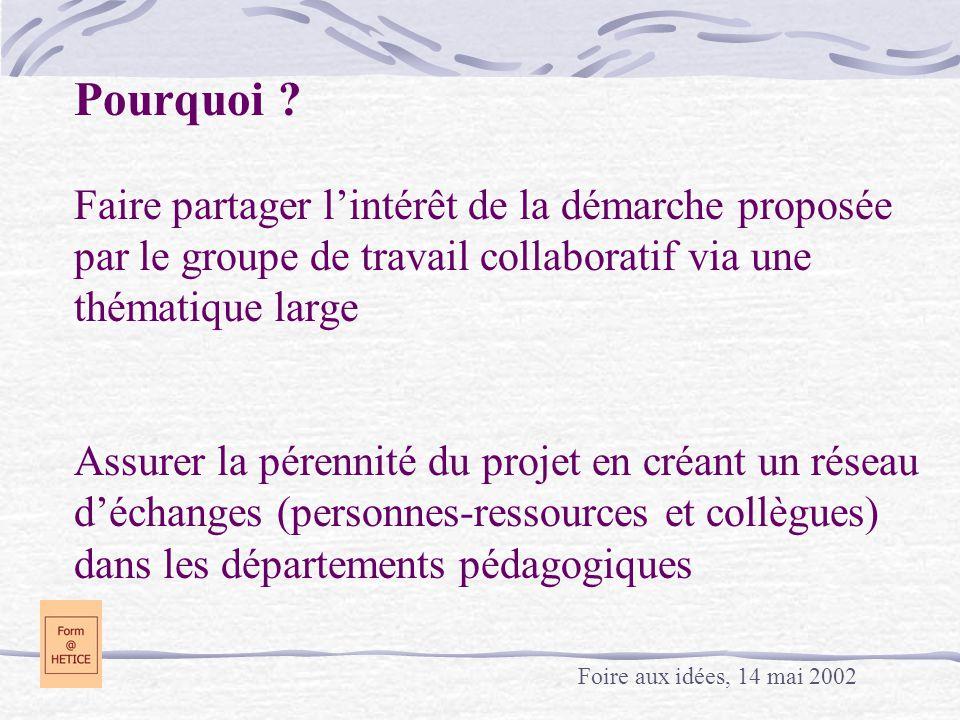 Pourquoi Faire partager l'intérêt de la démarche proposée par le groupe de travail collaboratif via une thématique large Assurer la pérennité du projet en créant un réseau d'échanges (personnes-ressources et collègues) dans les départements pédagogiques