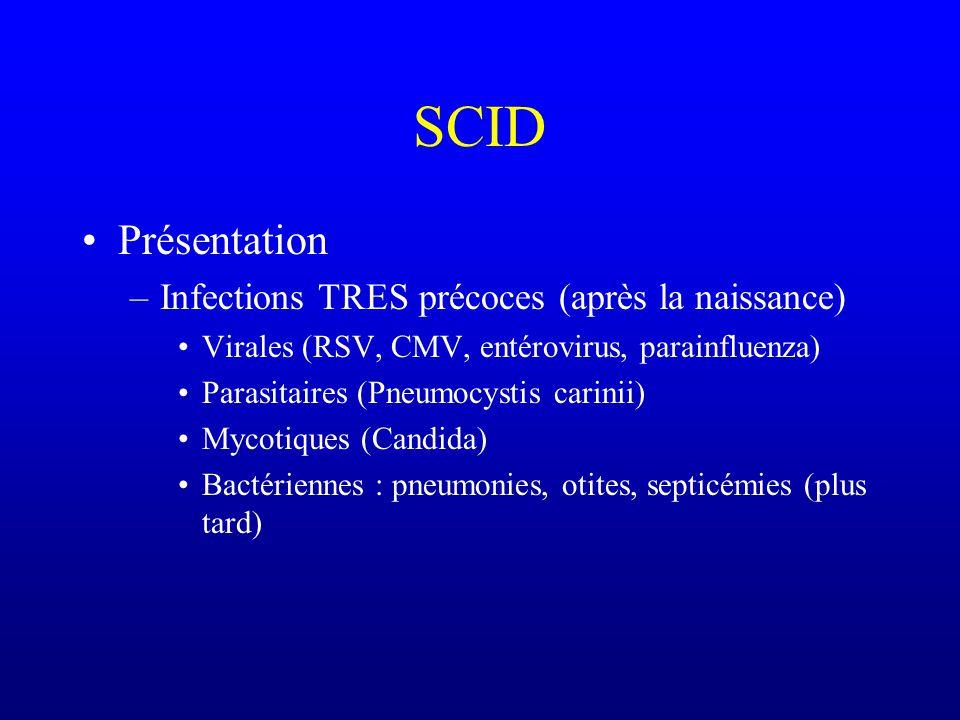SCID Présentation Infections TRES précoces (après la naissance)