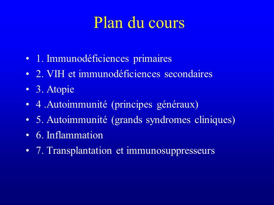Plan du cours 1. Immunodéficiences primaires