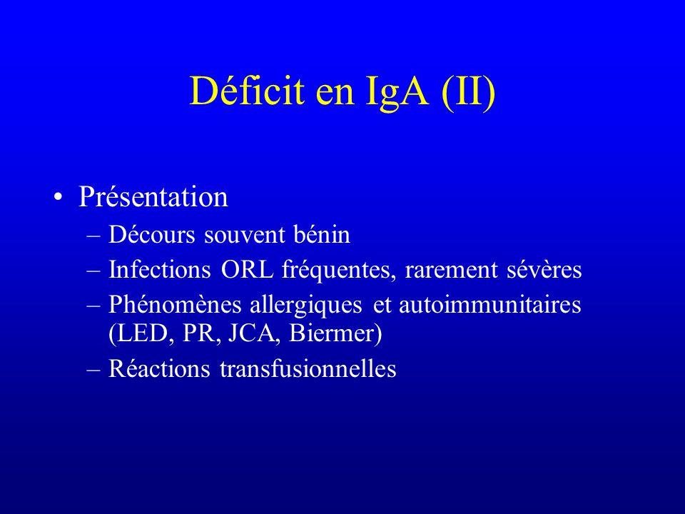 Déficit en IgA (II) Présentation Décours souvent bénin