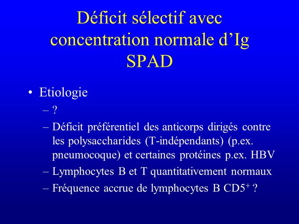 Déficit sélectif avec concentration normale d'Ig SPAD