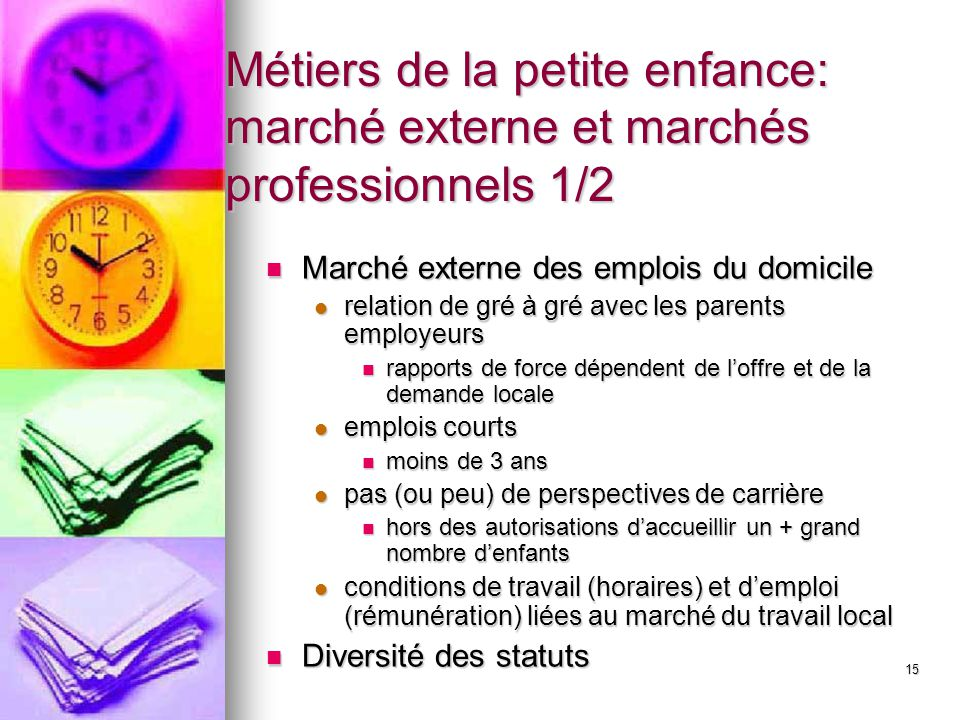 Métiers de la petite enfance: marché externe et marchés professionnels 1/2