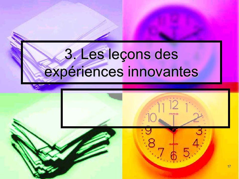 3. Les leçons des expériences innovantes